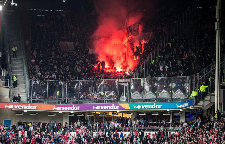 fireworks during the Dutch Eredivisie match between PSV Eindhoven and Ajax Amsterdam at the Phillips stadium on April 15, 2018 in Eindhoven, The Netherlands