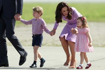 The Duke and Duchess of Cambridge and their children, Prince George and Princess Charlotte, visit Airbus in Hamburg, Germany.