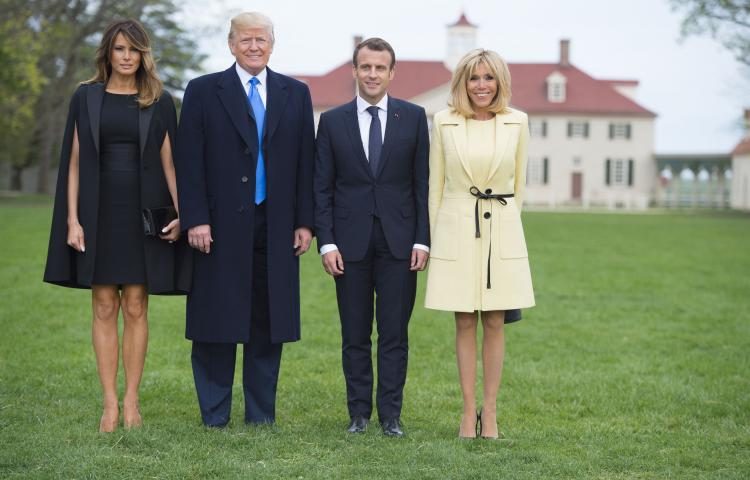 US President Donald Trump and First Lady Melania Trump, and French President Emmanuel Macron and his wife, Brigitte Macron, pose at Mount Vernon, the estate of the first US President George Washington, in Mount Vernon, Virginia, April 23, 2018. Photo By ELIOT BLONDET///SIPA_pool01561/Credit:Blondet Eliot-POOL/SIPA/1804241007