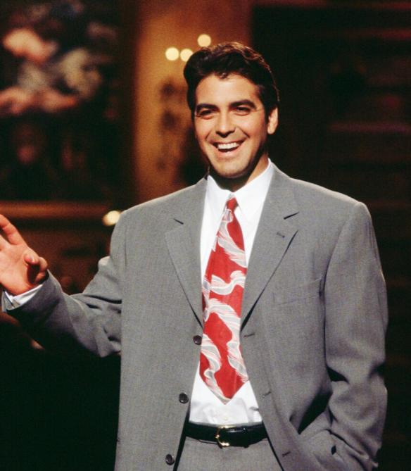 SATURDAY NIGHT LIVE -- Episode 14 -- Air Date 02/25/1995 -- Pictured: Host George Cloony during the monologue on February 25, 1995 -- Photo by: Alan Singer/NBCU Photo Bank