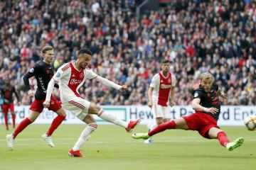 (L-R) Rico Strieder of FC Utrecht, Noussair Mazraoui of Ajax, Timo Letschert of FC Utrecht during the Dutch Eredivisie match between Ajax Amsterdam and FC Utrecht at the Johan Cruijff Arena on May 12, 2019 in Amsterdam, The Netherlands