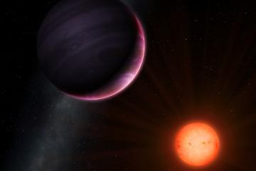 Red dwarf NGTS-1 and its gas giant planet, illustration. NGTS (Next-Generation Transit Survey) is located in the Atacama desert in Chile, with a primary aim to locate extrasolar planets with masses and sizes between those of Earth and Neptune. One of the discoveries is NGTS-1, a red dwarf star about half the diameter of the Sun. It has been found to host a planet almost one-quarter of its size, which makes it the largest known planet in relation to its star. This image shows the planet, a gas giant, and its red dwarf parent star.