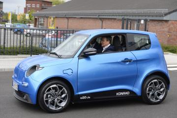 09 May 2019, North Rhine-Westphalia, Aachen: NRW Prime Minister Armin Laschet will accept the first e.GO electric vehicle in Aachen on Thursday, 9 May 2019. Today e.GO-AG delivers its first vehicles to customers. CEO Prof. Günther Schuh is planning an annual production of 30,000 vehicles from Aachen. DPA photo: Roberto arrow Photo: Roberto Pfeil/dpa Photo via Newscom