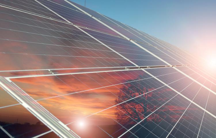 41748672 - solar battery with reflection of orange sunset with tree on clear blue sky with highlight background, horizontal picture