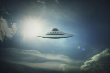 Ufo in sky, illustration.