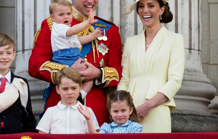 Members of the royal family including Prince Charles, the Duke of York, Duke of Sussex, Duchess of Sussex, Duke of Cambridge, Duchess of Cambridge, Prince George, Princess Charlotte and Prince Louis join HRH Queen Elizabeth II on the balcony of Buckingham Palace to celebrate the Trooping of the Colour.  8 June 2019.  Please byline: Vantagenews.com