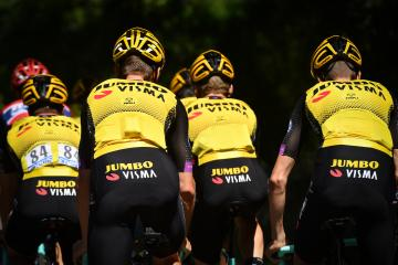 Team Jumbo-Visma riders pictured in action during the morning training session the first rest day of the 106th edition of the Tour de France cycling race, in Albi, Tuesday 16 July 2019 in France. This year's Tour de France starts in Brussels and takes place from July 6th to July 28th. BELGA PHOTO DAVID STOCKMAN