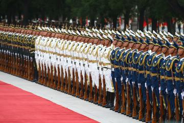 BEIJING, CHINA - JULY 2: Chinese People's Liberation Army honor guards are seen ahead of official welcoming ceremony for President of Turkey, Recep Tayyip Erdogan, at Great Hall of the People in Beijing, China on July 02, 2019. Volkan Furuncu / Anadolu Agency