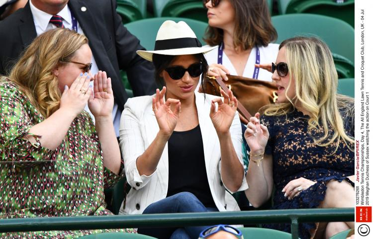 Mandatory Credit: Photo by Javier Garcia/BPI/REX (10327626fi) Meghan Duchess of Sussex watching the action on Court 1 Wimbledon Tennis Championships, Day 4, The All England Lawn Tennis and Croquet Club, London, UK - 04 Jul 2019
